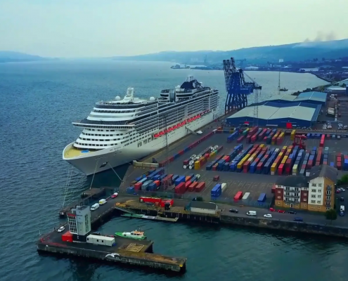 Msc Preziosa Cruise Ship - From the Sky, Greenock